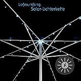 Nexos GB34286 72 Solar Lichterkette Weiß für Sonnenschirm 8 Stränge á 1,45 m je 9 LED mit Funktionen Sonnenschirmbeleuchtung Blinkfunktion