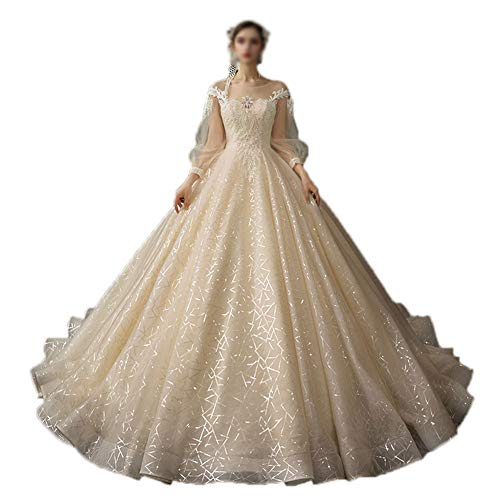 MYW Lace Applique Crew Neck taart rok Floor-Length Wedding Dress Champagne (maat S-4XL) (Color : Champagne, Size : XXL)