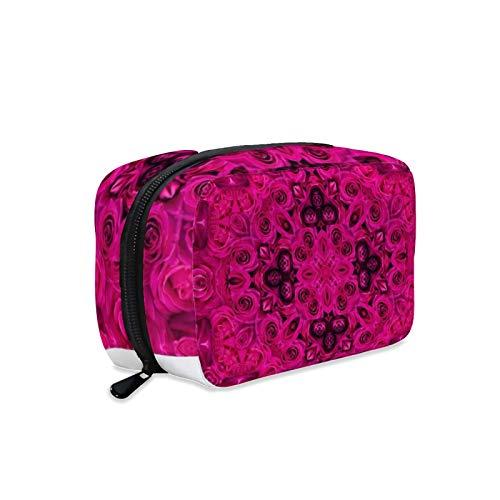 Kosmetiktasche, Make-up-Tasche, Kulturbeutel, tragbare Make-up-Tasche für Frauen, perfekt für Reisen/den täglichen Gebrauch, abstrakte Rosen-Medaillon-Design.