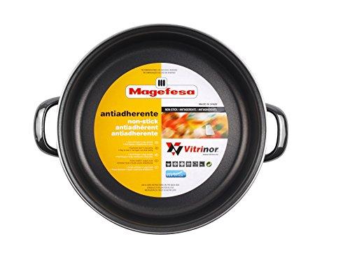 Magefesa Glass - Molde de horno 28cm de acero vitrificado exterior negro cristal. Antiadherente bicapa reforzado, apto también para todo tipo de cocinas, especial inducción. 50% de ahorro energético.