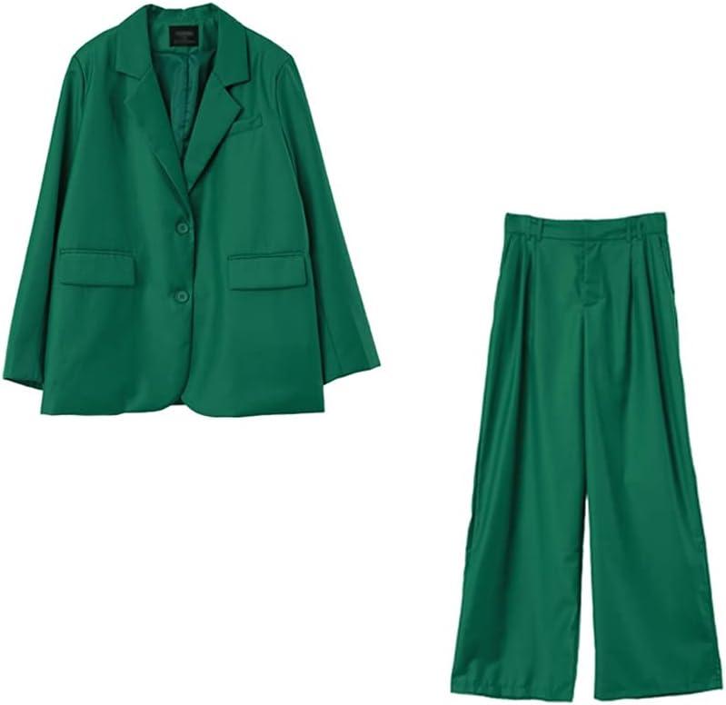 DIAOD Women Two-Piece Set Suit Office Lady Single Button Blazer High Waist Long Pants Suits (Color : Green, Size : L Code)
