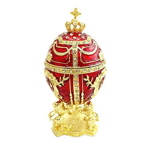LANGM Huevo de Pascua esmaltado, chapado en oro a mano, caja de joyería de huevo de Pascua para collar, pulsera, decoración de escritorio para el hogar