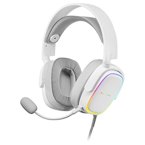 MARSGAMING MHAXW Blanco, Auriculares RGB Multiplataforma+Mic extraíble, 53mm HIFI