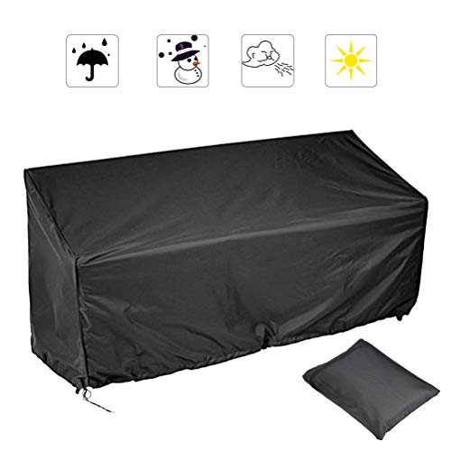 YANSHON Fundas Muebles Jardin Funda Banco Jardin Sillas 3 Plazas, Cubierta Muebles Jardín Funda para Sillas 210D Oxford, Funda Banco Jardín Impermeable Anti-UV Anti-viento e Anti-polvo 163x66x63/89cm