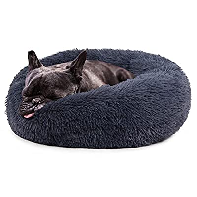 nononfish Luxury Dog Bed for Puppy Clearance Washable Fluffy Anti-Slip Waterproof Base Donut Pet Bed with Lightweight Blanket