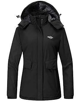 Wantdo Women s Waterproof Snowboarding Jacket Windproof Raincoat Wind Breaker Black 2XL