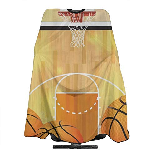 Cyloten Cartoon Basketball Court Salon Cape Unisex Easy Clean Haircut Cover Cloak Waterproof Hairdressing Cutting Cloth Hairdresser Barber Capes For Home Diy Dyeing Barbershop