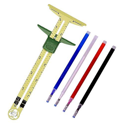 ACAMPTAR Calibre Deslizante en Forma de T Medida de Costura, Usando 4 Colores de BolíGrafo de Borrado TéRmico de Tela, Herramienta de Regla de Costura 5 en 1