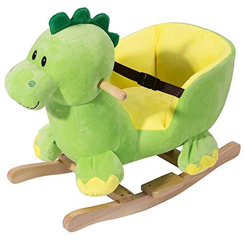 BAKAJI Dinosauro a Dondolo Cavalcabile Peluche Giocattolo per Bambini con Effetti Sonori Maniglie e Cintura di Sicurezza