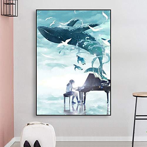 UIOLK Wandkunst Bild Leinwand Malerei Leinwand Malerei Modular Blue Whale Anime Mädchen Klavier Poster Wohnzimmer Rahmen Home Decoration