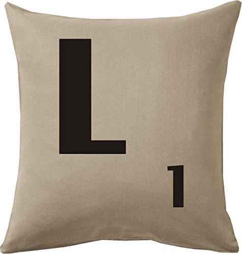 Cojines con la Letra L imitación fichas de Scrabble o apalabrados Medida 45X45 cm. Color beig. Solo Funda