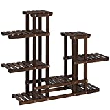 SONGMICS Plant Stand, Indoor Plant Shelf, Multi-Tier Wood Flower Stand, Holds 13 Flower Pots, for Living Room, Balcony, Rustic Dark Brown UGPS003B01