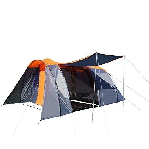 Campingzelt HWC-A99, 6-Mann Zelt Kuppelzelt Festival-Zelt, 6 Personen - orange/grau