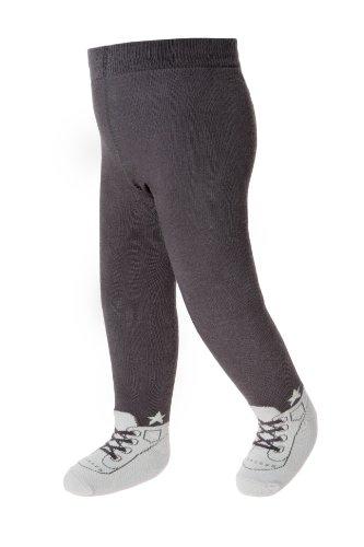 Baby Emporio Baby Strumpfhosen im Schuh-Design für Jungen - weiche Baumwolle & Anti-Rutsch-Sohlen , 6-12 Monate, Grau