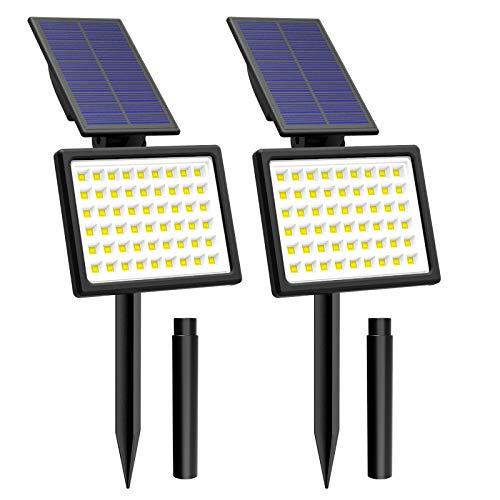 54 LED Solarleuchte Garten, T-SUNRISE Gartenleuchten Solar Außenleuchte Solarstrahler Außen IP65 Wasserdicht mit 2 Lichtmodi 2 Stück (3000K)