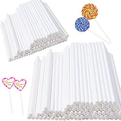 400 pcs 6 Inch White Lollipop Sticks,Cake Pop Sticks,Paper Treat Sticks Sucker Stick for Cake Toppers,Cake pops,Candy,Chocolate,Cookie(3.5mm Dia) from