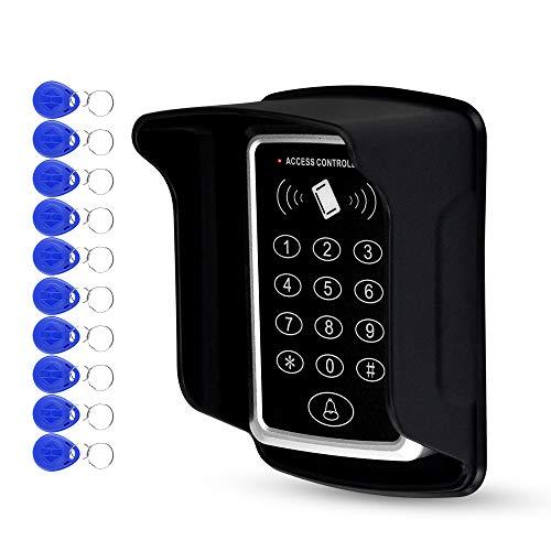 LUCINE RFID 125KHz Zugangskontrolltastatur Standalone Access Controller 1000Benutzer mit wasserdichter Abdeckung und 10-teiligen Schlüsselanhänger RFID-Karten (kit3)
