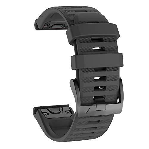 No Branded Correa de Reloj, Reemplazo de Silicona Suave de 26mm de Ancho, Pulsera Deportiva Transpirable para Garmin Fenix 6X/6X Pro, Fenix 5X/5X Plus, Fenix 3/3 HR, Ajuste Rápido-Negro
