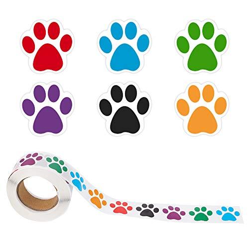 SUI-lim 1000 Stücke(2 Rolle) Hunde Pfoten Druck Aufkleber, Bärentatze Etiketten Aufkleber, Bunte Pfoten Aufkleber, Wandtattoo Wandsticker Wandbild Bärentatze Etiketten Aufkleber(Gemischte Farbe)