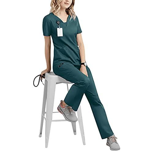 BIKETAFUWY Kasack set dames professionele kleding Suits gunstig 2-delige outfit zorg jas V-hals rits slip-case laboratoriumjas effen OP-kleding dameskleding kort T-shirt + broek uniformen