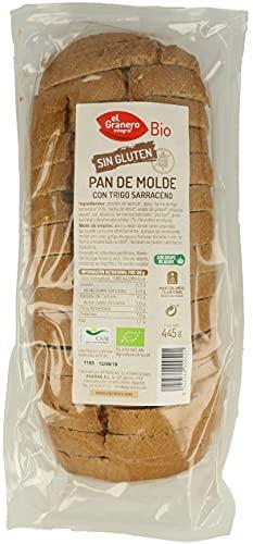 Pan de Molde con Trigo Sarraceno. SIN GLUTEN. Paquete de 3 x 445g. Ecológico. 3 meses de vida útil. El Granero.
