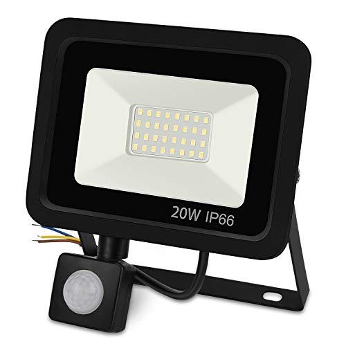 Zorara 20W LED Strahler mit Bewegungsmelder, Superhell 1600LM LED Fluter Außen IP66 Wasserdicht, Flutlichtstrahler 6000K Licht Wandleuchte für Garten Garage Sportplatz [Energieklasse A+]