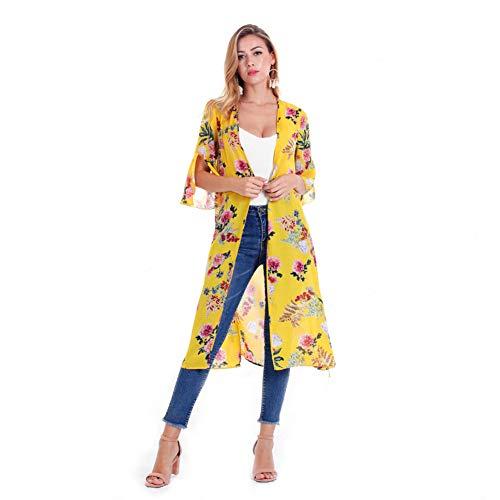YYH Dames Cardigan, bloemenpatroon, chiffon, kimono, cardigan, tops, blouse, strandjurk XL Geel