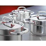 WMF Premium One Topfset Induktion 6-teilig, Kochtopf Set mit Metalldeckel, Cromargan Edelstahl poliert, Töpfe Set unbeschichtet, Innenskalierung - 20