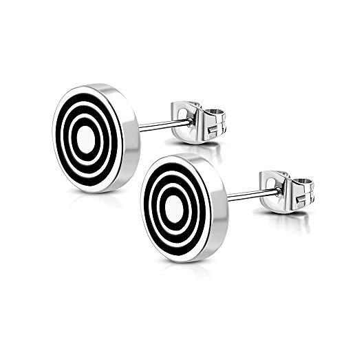 BlackAmazement 2er Set Ohrstecker 316L Edelstahl Zielscheibe Circle Kreis Bullseye 8mm Silber Damen Herren