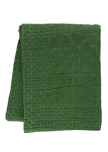 Linum Paolo Tagesdecke, baumwollesamt, Wiesengrün, 270 x 260 x 20 cm