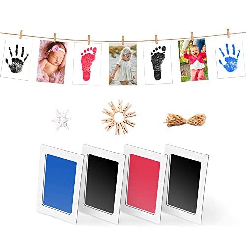 Norjews Baby Handabdruck und Fußabdruck Set in 3 Farben, Baby Abdruck mit 4 x'CleanTouch' Stempelkissen, 8 x Druckkarten und Seil, Tolles Babygeschenk für Babyparty (Schwarz + Rosa + Blau)