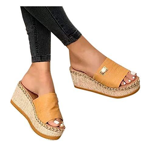 riou Sandalias Mujer Verano 2021 con Plataforma Flops Cómodas Zapatillas Señoras Verano Zapatos Antideslizantes Casuales Vintage Chanclas con Punta de Clip de Playa
