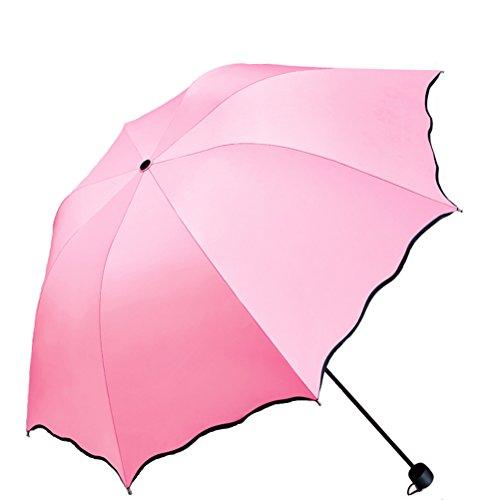 Stockschirme Regenschirme Rosa Taschenschirme Frau Männer Leichtgewichts Blume 8 Knochen UV-Beweis Regenschirm (Prinzessin rosa)