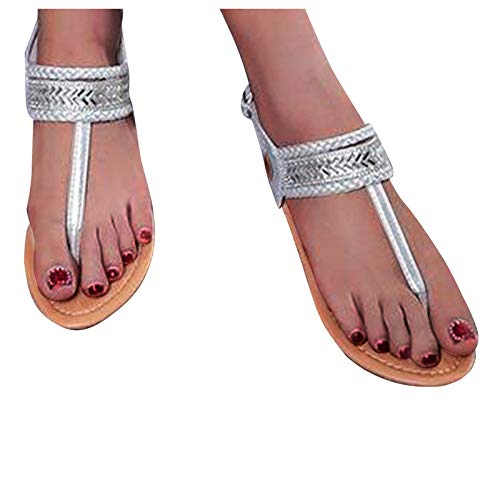 YWLINK Toboganes De Verano para Mujer Zapatillas De Playa Sandalias Planas Ocasionales con Estilo Suela De Goma Clip Toe/Thong Vintage Catch Flip Flop para MáXima Comodidad