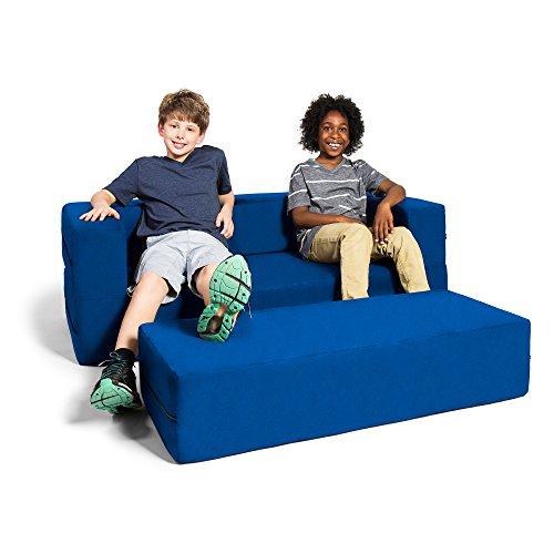 Jaxx Zipline Sofa & Large Ottoman 3 in 1 Fold Out Sofa, Big Kids Edition, Blueberry