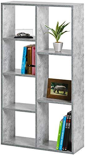 ts-ideen Estantería Librería 7 compartimentos en Madera Color Gris Cemento