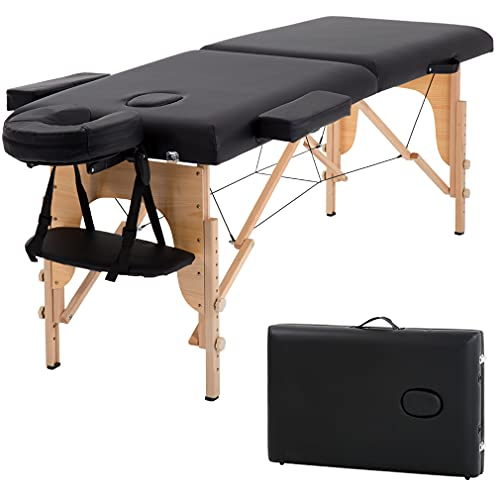T-LoVendo TLV-MT15B Camilla masaje plegable de madera mesa cama banco 2 zonas acolchada negro 🔥