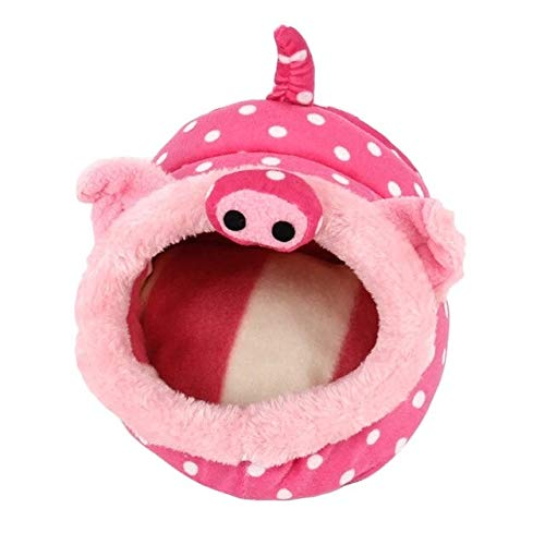 Gather together Pig Behogar Cute Small Animal Pet Rats Hamster Squirrel Hedgehog Winter Warm Plush Cage House Nest Hamster Accessory Size L