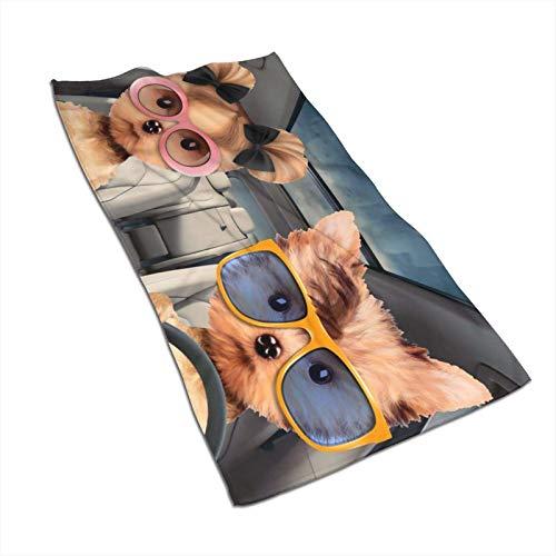 GOSMAO Toalla de Baño Toallas de Mano Absorbente Paño de Lavado Gafas de Sol Cute Dog Drive 27.5 X 17.5 in