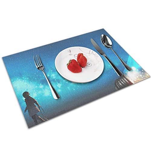 Tavolo da Pranzo Tovaglietta Lavabile Tappetini Antiscivolo Resistenti al Calore Set di 6 lampadine Fantasy Galaxy Star Dust
