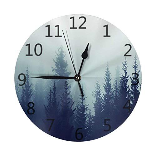GOSMAO Reloj de Pared,Bosque de pinos Niebla brumosa, Reloj de Escritorio Decoración del hogar para Cocina Sala de Estar Dormitorio Oficina
