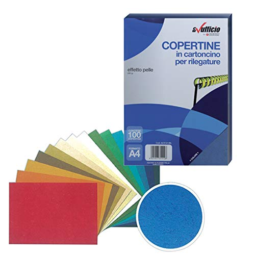 Copertine Effetto Pelle A4 230 Gr Blu Conf. 100 Pz.