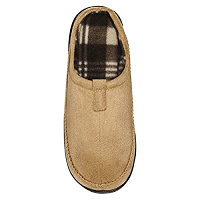 Skysole Mens Microsuede Clog Slipper with Rugged Outsole