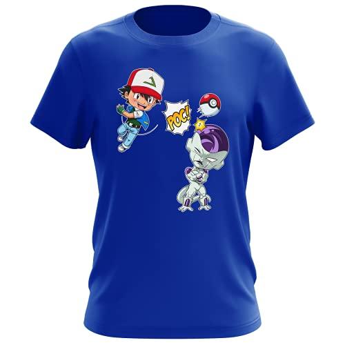 Okiwoki - Maglietta da uomo con scritta 'Parodie Dragon Ball Z', Pokemon Sacha du Bourg-Palette e Freezer, un Mewtwo Sauvage apparait, o Pas!' (maglietta di alta qualità, stampata in Francia), blu, S