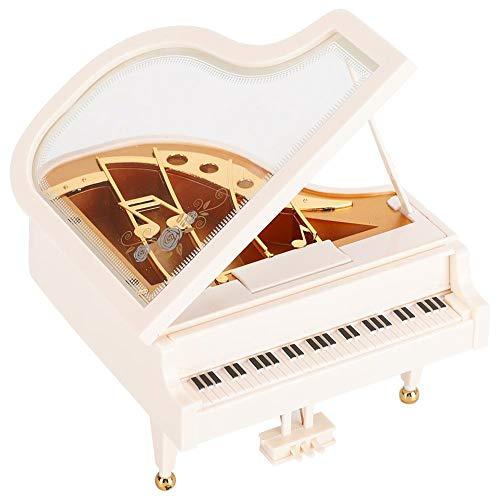Atyhao Caja de música, Forma de Piano Caja de música de Madera de Pino Decoración de Escritorio para el hogar para niños Regalos de cumpleaños de Navidad