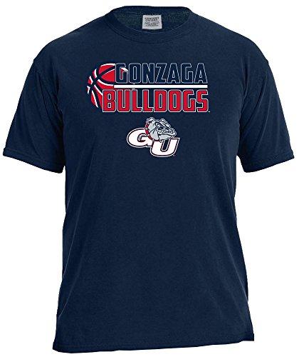 Image One NCAA Basketball Logo Short Sleeve Comfort Color Tee, Small,TrueNavy, Gonzaga Bulldogs