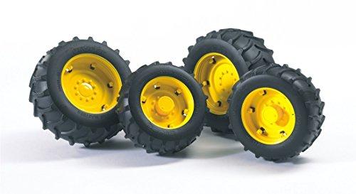 bruder 02012 Zubehör: Zwillingsbereifung mit gelben Felgen für Traktor Serie