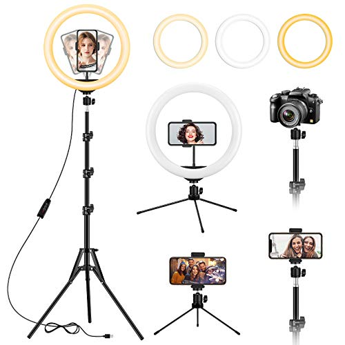13 inch Ring Light with Floor Tripod and Desk...