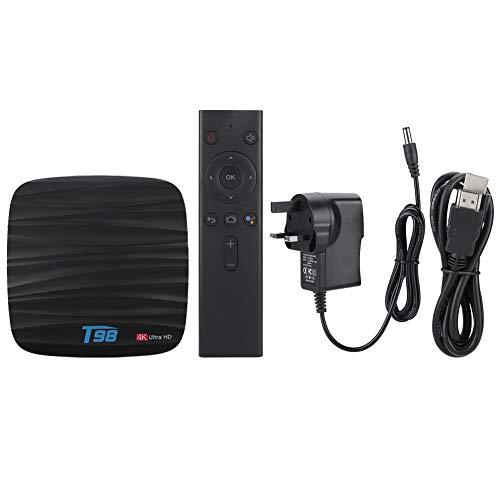 FOTABPYTI Decodificador, decodificador de TV, T98 H6 Quad Core WiFi 110-240V 4 + 32G para Android 8.1(British Standard 110-240V)