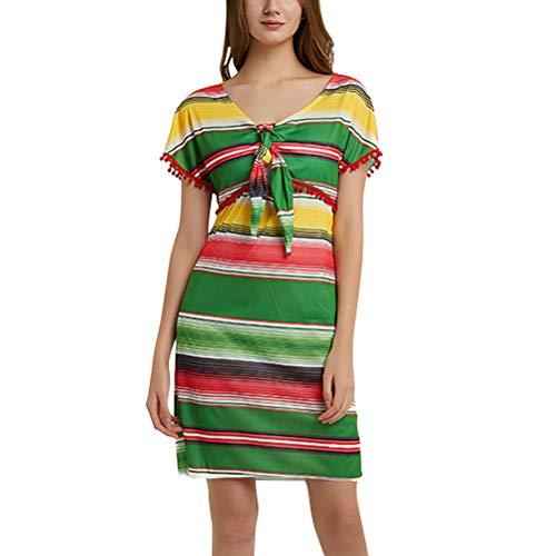 Amosfun Womens mexicaanse fiesta jurk mexicaanse stijl kostuum jurk halloween feestjurk (groen)